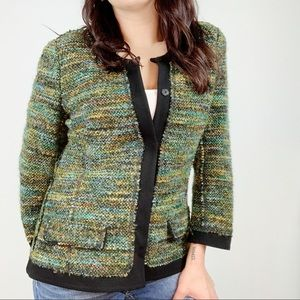Lafayette 148 Multicolor Tweed Button Blazer M